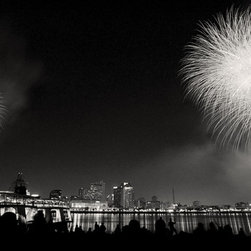 The Andy Moine Company LLC - 4th July Fireworks Mississippi River New Orleans LA Black and White Photography - Black and White Fine Art Photography captured with 35MM Ilford Film and reproduced in limited editions on Canvas OR Brushed Aluminum. This is a beautiful composition of the 2012 4th July Fireworks show along the banks of the Mississippi River at Algiers Point in New Orleans, Louisiana