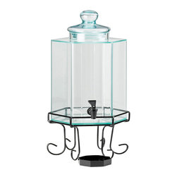 Cal Mil - 10W x 10D x 22H Iron Acrylic Beverage Dispenser 2 Gallon 1 Ct - Is glass too heavy to move around for your needs  The acrylic version of the glass beverage dispenser is what you are looking for With identical dimensions as its glass cousin the acrylic is a more lightweight and easily accessible version.
