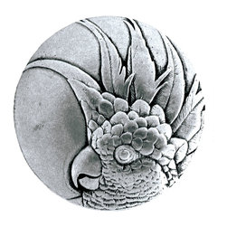 "Inviting Home - Small Cockatoo Knobs - right (brilliant pewter) - Hand-cast Small Cockatoo Knobs - right in brilliant pewter finish; 1-3/8"" diameter Product Specification: Made in the USA. Fine-art foundry hand-pours and hand finished hardware knobs and pulls using Old World methods. Lifetime guaranteed against flaws in craftsmanship. Exceptional clarity of details and depth of relief. All knobs and pulls are hand cast from solid fine pewter or solid bronze. The term antique refers to special methods of treating metal so there is contrast between relief and recessed areas. Knobs and Pulls are lacquered to protect the finish. Alternate finishes are available. Detailed Description: If you are intrigued by fashionable and playful accessories than you will love the Cockatoo pulls - they come in vertical and horizontal options which would bring amazing variety without having to search at all. You can use the vertical pulls on the cabinet doors and the horizontal pulls on the drawers. If you have any smaller drawers you could also work in the Cockatoo Knobs making it a complete collection while displaying variety."