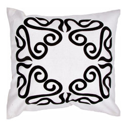 """Jaipur Rugs - Handmade Cotton Ivory/White/Black (18""""x18"""") Pillow - A fun , funky collection of pillows in 100% cotton, taking inspiration from suzani patterns which have been rescaled and updated .Colors mix black and white with vibrant brights of pink ,lime and lemon and use  a combination of flock print, applique and embroidery embellishment techniques"""