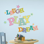 Roommates Decor - Laugh Play Dreams Giant Peel & Stick Wall Decals - These fun patterned alphabet wall decals spell out the phrase laugh, play, dream. Encourage your little ones to live happily by placing this quote on their bedroom or playroom wall.