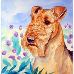 Caroline's Treasures - Airedale Terrier In Flowers Glass Cutting Board Large Size - Large Cutting Board .. . Made of tempered glass, these unique cutting boards are some of your favorite artists prints. 15 inches high and 12 inches long, they will beautify and protect your counter top. Heat resistant, non skid feet, and virtually unbreakable!