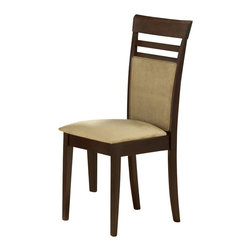 Monarch Specialties - Monarch Specialties Side Chair in Cappuccino (Set of 2) - The cappuccino colored dining chairs will look wonderful in your casual contemporary home. With a peat micro-fiber fabric covering the padded seat and back, a slight horizontal slat back, and sleek tapered legs, these pieces create a warm and inviting ambiance. What's included: Side Chair (2).