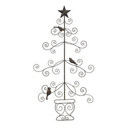 Home Decorators Collection - Card Holder with Birds - The stylized, curliqued branches of our Christmas tree-inspired Card Holder with Birds will keep your holiday greetings organized and on display. This classic piece is accented by three birds and a star topper. Iron in bronze finish. Includes keyhole cutout for hanging.