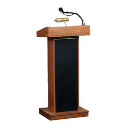 Oklahoma Sound - Oklahoma Sound Floor Lectern Orator In Medium Oak - This impressive lectern with has a standard height of 46 inches. Suited to every speaker and environment  the spacious reading surface is illuminated by a brass lamp. Features convenient digital time piece. Four easy roll casters are concealed under an elegant cabinet featuring gold appointments. Includes both handheld and lapel mics.