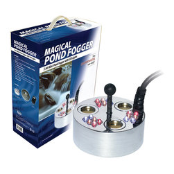 """Alpine Corporation - Alpine Mini Pond Fogger 3-Head w/ Floating Ring - Our pond foggers are like no other. Emitting a magical, dry ice like dog in seconds, our """"super power"""" pond foggers come with and without LED lights. Using ultra sonic sound waves- no chemicals- fish safe. All pond foggers include the floating ring and an outdoor transformer."""