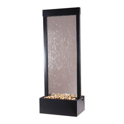 """Bluworld - 4' Gardenfall Fountain - Black Onyx & Clear Glass - With the 48"""" Gardenfall water feature it's easy to enjoy the soothing sights and sounds of water sheeting beautifully down clear glass past polished river rocks year-round. Designed for today's decors, its clean, contemporary design enriches any space while its humidifying and air-cleansing properties promote a healthier living environment. This 4' Gardenfall water fountain features a clear glass surface and black frame. Quiet operation and durable materials make this water fountain suitable for both indoor and outdoor use.Installing this beauty won't raise your stress level either. It can be installed easily with no special tools in no time, so there won't be much of a wait from the time it's delivered to your door until the time you are relaxing beside it and appreciating its modern yet timeless charm. Bring the 4' Black Onyx Glass Gardenfall into your life and enjoy its peaceful rewards.This fountain ships with an adjustable pump and polished river rocks. This water feature can be customized with your logo."""