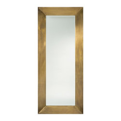 """Arteriors - Ira Floor Mirror - This 80"""" rectangular mirror has a wide wood frame that is clad in a hand-applied antique brass metal veneer.  The mirror has a 1"""" bevel.  Lean it against the wall or hang with the security cleat attachment in either a vertical or horizontal position.  The scale is commanding.  Mirror Size: 22"""" w x 68"""" h"""