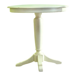 American Drew - American Drew Camden Bar Height Pedestal Table in Buttermilk - American Drew-Pub Tables-920706R-The American Drew Camden Collection accents simple forms with quiet traditional references gentle curves and a beautiful time worn buttermilk finish that lets the character of the wood show through. The brushed nickel finish hardware adds even more casual elegance to Camden. This collection will work great in an urban chic setting classic antique or beach cottage get-away. The Camden Bar Height Pedestal Table has a casual and elegant design that will fit your style.