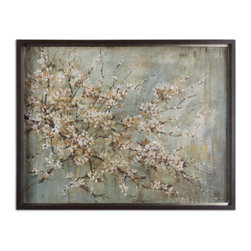 Uttermost - Blossom Melody Floral Art - Cherry blossoms never go out of fashion. This timeless oil reproduction is ideal for softening the edges of your modern home. Hang it in your living room or bedroom for a classic touch of art.