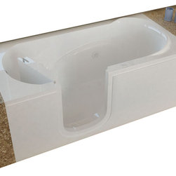Spa World Corp - Meditub 30x60 Left Drain White Whirlpool Jetted Step In Bathtub - Meditub's walk-in bathtub offers safety and independence in an elegant package. Featuring safety features such as a non-slip floor texture and a wide swinging door for easy entering and exiting of the tub. Fusing the industry's highest standards for quality construction with an inspired artistic vision offering a beautifully glossy finish reinforced with a stainless steel frame and 6 adjustable legs for leveling.