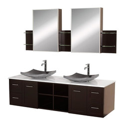 Wyndham Collection - 72 in. Bathroom Vanity and Mirror Set - Includes two black porcelain sinks, white man-made stone top, two matching medicine cabinets with mirrors. Faucets not included. Modern wall mounted installation. Two doors, four deep doweled drawers and four open storage compartments. Fully extending side-mount drawer slides. Soft-close doors and concealed door hinges. Easy-access storage spaces. Plenty of cabinet storage space. Variable wall-mount design allows the perfect height. Ground to top of counter variable 31 - 33 in. suggested. Eight stage painting and finishing process. Metal hardware with brushed chrome finish. Warranty: Two years limited. Made from beautiful natural wood veneers over highest quality grade E1 MDF. Espresso finish. Side shelves: 8.75 in. W x 5 in. D x 12 in. H. Medicine cabinet: 21 in. W x 5.75 in. D x 30 in. H (88 lbs.). Vanity: 72 in. W x 22.25 in. D x 24.5 in. H (195 lbs.). Handling Instructions. Installation InstructionsMake a statement with the Avara double vanity and add a twist of the transitional to an otherwise modern classic.
