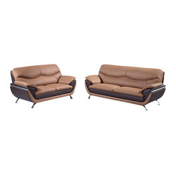 Global Furniture USA - U2106 Two-Tone Brown Bonded Leather Three Piece Sofa Set - The U2106 sofa set works with any decor and will have you relaxing in modern comfort. This sofa set comes upholstered in a beautiful two-tone light brown and dark brown bonded leather in the front where your body touches. Carefully chosen match material is used on the back and sides where contact is minimal. High density foam is used within the cushions for added comfort. Each piece features metal accents on the sides of the arms that add to the overall look of the sofa set. The sofa set includes a sofa, loveseat, and chair only.