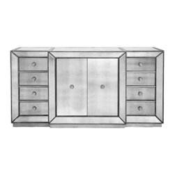 Z Gallerie - Omni Mirrored Buffet - Dinner will always be a meal to remember with the Omni mirrored buffet. The clean lines of the cases are outlined in a hand-applied silver-leaf and silver-beaded trim.