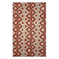 """Trans-Ocean - Ikat Diamonds Red 42"""" x 66"""" Indoor/Outdoor Flatweave Rug - The highly detailed painterly effect is achieved by Liora Mannes patented Lamontage process which combines hand crafted art with cutting edge technology. These rugs are Hand Made of 100% Polyester fibers that are intricately blended together using Liora Manne's patented Lamontage process. They are then finished using modern needle punching and latexing processes that create a work of art that is practical. The flat simple nature of these Lamontage rugs is an ideal base with which to create a rug that is at the same time a work of art. Perfect for any Indoor or Outdoor space, they are antimicrobial,  UV stabilized, and easy care."""