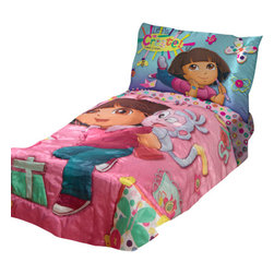Betesh Group - Dora Explorer Create Art Satin 4-Piece Toddler Bedding Set - Features: