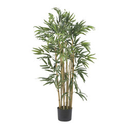 Nearly Natural - 3' Multi Bambusa Bamboo Silk Tree - Need to add a touch of greenery to your sunroom but don't have the time or patience for a live tree? This healthy looking 3 foot Multi Bambusa is sure to please even the most discerning of critics. A total of five-hundred slender rich green leaves grace this all natural inspired creation. A rich mix of authentic shaded stalks immersed in a basic black planter set the stage for this elegant work of art.