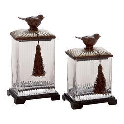 Classy and Stylish Polystone Glass Canister, Set of 2 - Description: