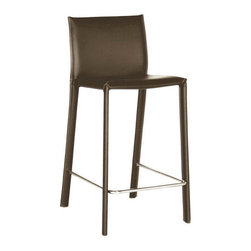 Wholesale Interiors - Brown Leather Counter Stool - This leather counter stool will give your room that finishing touch that it needs and deserves. Stool constructed with hardwood frame. Durable bonded leather upholstery for longer lasting use and stain resists for easy clean up. Leg constructed with solid rubber wood with veneer finish completes with lightly padded with high density foam for added comfort. If you need a classic stool that will hold up well to entertaining and fun, then this is the bar stool that you will want and need.
