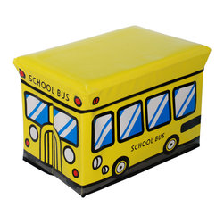 Blancho Bedding - School Bus-YellowRectangle Foldable Faux Leather Storage Ottoman/Storage Boxes - The Foldable Storage Seat will make an ideal addition to your room, which combines accessible everyday storage with a useful occasional seat. Not only does it provide you a comfortable place to rest, but it also offers extra space to store your gaming gear, gadgets, books, magazines, and other household necessities. With lots of storage space, the ottoman helps you keep your room free from clutter. Made with non-woven fabric and durable cardboard. It spices up your home's decor, and create a multifunctional storage unit for all around your home.