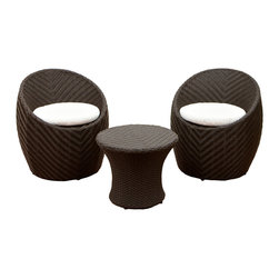 Great Deal Furniture - Morocco 3-Piece Outdoor Seating Set - Escape to relaxation with this Morocco 2 chairs and a table outdoor seating set. This set is perfect for smaller spaces with its compact design and easy storage.