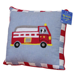 Pem America - Cotton Fire Truck Pillow - Antique fire trucks for your little fire fighter.  The fire trucks are hand sewn to the quilt with a cooling blue background and bright red firetrucks.  The face of the quilt feature a white frame on the deck and edged in a dramatic red.  Look closely and you will see playful Dalmatians along for the ride! Each Pillow is 14 inches x 14 inches Filled with 100% Natural Cotton Machine washable.