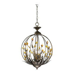 Cyan Design - Amber Pendant - This wrought-iron pendant lamp with amber accents brings light and color to your home in both day and night. The metalwork has a lustrous Autumn Dusk finish.