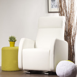Dutailier - Dutailier Upholstered Glider - A soft, rounded silhouette provides superior comfort in this Dutailier chair. A multi-position mechanism locks the chair in six different positions to simply enjoy the comfort and to make it easy to sit in or step out of the glider.