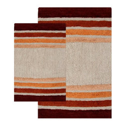 Chesapeake - Chesapeake 2 pc. Tuxedo Stripe Bath Rug Set - 37320 - Shop for Mats and Rugs from Hayneedle.com! Well-placed stripes and bold colors makes the Chesapeake 2 pc. Tuxedo Stripe Bath Rug Set a fun yet subtle way to enhance the look of your bath. This two-piece bath rug set features a hand-tufted 100% cotton design that's ultra absorbent and super soft underfoot. Available in an array of colors to suit your style the simple stripes and classic appeal of this set make it the ideal addition to your traditional or contemporary bath. This set comes complete with one small (20 x 32 in.) rug and one large (23 x 39 in.) rug.