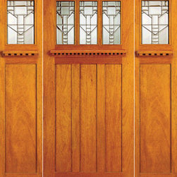 Mission Style Mahogany Prehung Three Lite Door And Two