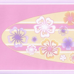 York Wallcoverings - Purple Pink Hawaiian Surf Board Wallpaper Border - Wallpaper borders bring color, character and detail to a room with exciting new look for your walls - easier and quicker then ever.