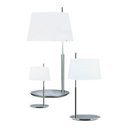 "Fontana Arte - Fontana Arte Passion Table Lamp - The Passion table lamp has been designed by Studio Beretta for Fontana Arte. Table lamp. Chrome-plated or brushed nickel-plated brass frame. Diffuser in white satin blown glass. Metal upper reflector.  Product Details:   The Passion table lamp has been designed by Studio Beretta for Fontana Arte. Table lamp. Chrome-plated or brushed nickel-plated brass frame. Diffuser in white satin blown glass. Metal upper reflector. UL Listed Details:                            Manufacturer:                         Fontana Arte                                         Designer:                        Studio Beretta - 2004                                         Made in:            Italy                             Dimensions:                         small: Height: 14 1/4"" (36 cm) X Width: 7.8"" (20 cm)             medium: Height: 23 5/8"" (60 cm) X Width: 12 1/4"" (31 cm)             large: Height: 34 1/4"" (87 cm) X Width: 18.5"" (47 cm)                                          Light Bulb:                        small: 1 X 60W G9 Halogen             medium: 1 X 150W Incandescent              large: 2 X 100W Incandescent                                          Material:             brass, blown glass"