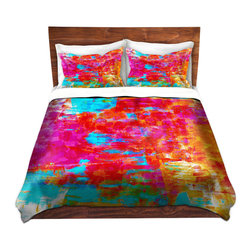 DiaNoche Designs - Duvet Cover Microfiber by Julia Di Sano - Abstract Jungle V - DiaNoche Designs works with artists from around the world to bring unique, artistic products to decorate all aspects of your home.  Super lightweight and extremely soft Premium Microfiber Duvet Cover (only) in sizes Twin, Queen, King.  Shams NOT included.  This duvet is designed to wash upon arrival for maximum softness.   Each duvet starts by looming the fabric and cutting to the size ordered.  The Image is printed and your Duvet Cover is meticulously sewn together with ties in each corner and a hidden zip closure.  All in the USA!!  Poly microfiber top and underside.  Dye Sublimation printing permanently adheres the ink to the material for long life and durability.  Machine Washable cold with light detergent and dry on low.  Product may vary slightly from image.  Shams not included.