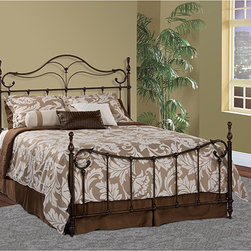 Hillsdale - Bennett Bed Set - This Bennett bed boasts a fresh take on the traditional four poster with a headboard and footboard featuring mirrored elements. Crafted of metal finished in antique bronze with vintage appeal,the set includes hardware to complete assembly with ease.