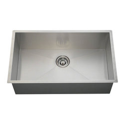 "MR Direct - MR Direct 3322S 90 Degree Single Bowl Rectangular Stainless Steel Sink - The 90 degree 3322S single bowl rectangular sink is constructed from one solid piece of 16 gauge, 304 grade stainless steel. Since the steel is not stretched or molded, this sink is one of the sturdiest and heaviest stainless steel sinks available. The surface has a brushed satin finish to help mask small scratches that occur over time and keep your sink looking beautiful for years. The overall dimensions of the 3322S are 32"" x 19"" x 10"" and a 33"" minimum size cabinet is required. This sink contains a 3 1/2"" offset drain, is fully insulated and comes with sound dampening pads. As always, our stainless steel sinks are covered under a limited lifetime warranty for as long as you own the sink. Strainers not included."