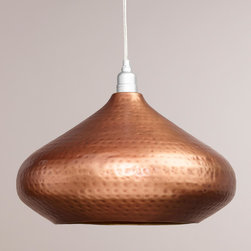 World Market - Hammered Copper Hanging Pendant Lamp - The eye-catching texture of our Hammered Copper Hanging Pendant Lamp is created by artisans in India using traditional metalworking techniques. The radiant hammered copper exterior contrasts with a gold finished interior for added elegance.