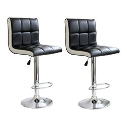 Buffalo Tools - AmeriHome 2 Piece 2 Tone Padded Bar Stool Set - 2 Piece 2 Tone Padded Bar Stool Set by AmeriHome The AmeriHome 2 Piece Two Tone Padded Bar Stool Set is perfect for a game room, garage, man cave, or finished basement. A black seat with white sides and a mirror-like polished chrome base give this Two Tone Bar Stool Set a casual contemporary style. Your guests will have a comfortable place to sit and watch the big game on the 17.5 in wide by 15 inch deep padded black vinyl seats. These bar stools also feature an adjustable seat height of 24 to 32 inches, built in footrests, and a weight capacity of 265 lbs.  Includes 2 Two Tone Padded Bar Stools  Adjustable seat height from 24 to 32 inches Maximum seat back height of 41 in. 17.5 in. W x 15 in D padded black vinyl, 360 degree swivel seat 265 lbs. weight capacity