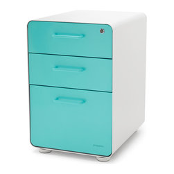 Poppin - West 18th File Cabinet, White/Aqua - So good-looking, you will want to take it home.