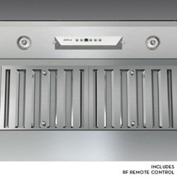 """Zephyr - Monsoon I AK9234AS 34"""" Cabinet Insert One Piece Liner with 600 CFM Internal Blow - The Monsoon I one-piece liner has innovative features that enhance performance and are easy to maintain The Monsoon I features an ADA compliant wireless remote control for easy control and dual-level halogen lights to perfectly illuminate the cooking..."""