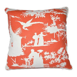 "Oomph Paradise Pillow in Reverse Knockout Orange - Our knockout orange is a bit of paradise, and reversing it makes it truly oomphy! This is quadrille's tradition with a twist, the reverse thing being the twist - we love it. Insert: 90/10 feather down combination with zipper for easy cleaning. Made in USA. 22"" x 22"""