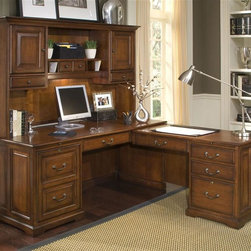Riverside Furniture - Cantata L-Shaped Computer Workstation w Hutch - Includes computer desk and return. Dovetail joinery drawer construction. Pullout shelf on ball-bearing guides. Made from poplar hardwood solid and cherry and birch veneers. Burnished cherry finish. Left hand computer desk:. One locking left hand door encloses one adjustable center shelf. Power control panel and small drawer. Wiring access holes in back panel and inside end panel. Open ventilation slot on inside end panel. 68 in. W x 29 in. D x 30 in. H. Right hand return:. One center storage drawer. Felt-lined bottom. Pencil tray storage. Two storage drawers. Top drawer with felt-lined bottom. 46.13 in. W x 22 in. D x 29 in. H. Hutch:. One small storage drawer located under each outside door. One small accessory drawer, one fixed shelf and four pigeon hole slots. One light mounted in center section to illuminate work area. 68.5 in. W x 13.75 in. D x 42.75 in. H (148 lbs.). Overall: 75.25 in. W x 68 in. D x 30 in. H (405 lbs.). Assembly Instructions
