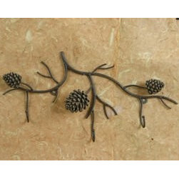 """Metal Pine Cone Branch Triple 3x Wall Hook / Coat Hook / Towel Hook Rack Hanger, - A Richly detailed Pine Cone and Branch Metal Wall Hook Organizer. Add a touch of the great outdoors while organizing your home. An affordable way to stay organized in your kitchen, entryway, or den! This is beautiful Pinelands inspired metal branch with 3 very detailed Pinecones. Chocolate brown painted metal finish. Easy to hang with 2 screws or nails(not included) to mount on wall secure enough to hold that robe, lightweight coat or towel. Measures approx. 11""""H x 20""""W x 1.5"""" deep from wall. (pinecones measure 2-1/2"""") This sale is for ONE branch wall hooks only."""