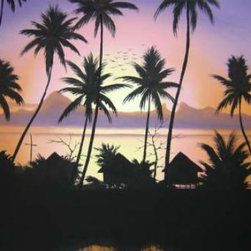 Oriental-Decor - At Home in the Wild Oriental Painting - The beaches of southern Thailand are considered some of the most beautiful and scenic places in the world. This magical Oriental painting captures a group of beach-front huts waking to the dawn of a new day. Hang this inspirational painting in any room to add cheer and a tropical touch to any setting.