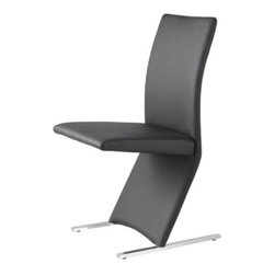 Leonardo Dining Chair - The Leonardo Dining chair has a hip contemporary design which seems to defy gravity.  Chair is covered in a black, white, or espresso leatherette with chrome legs.
