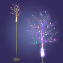 "Lumisource - Fiber Optic Tree, Multi/White - 8"" Diam. x 45"" H"
