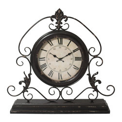 "ecWorld - Versailles Scroll Art 23"" Weathered Metal Wide Tabletop Mantel Clock - Grace your tabletop or mantel with traditional grandeur with this unique tabletop clock. The notion of time gentles and slows to a restful pace, nestled within the scrolls of a more graceful era. Sculpted metal is given a weathered black finish; the clock keeps quartz time against a weathered beige face. Great display piece for a wide tabletop area."