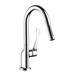 "Hansgrohe - Hansgrohe 39835801 Steel Optik Axor Citterio Axor Citterio Pull-Down - Product Features:  All-brass faucet body and handle construction Fully covered under Hansgrohe s limited lifetime warranty Hansgrohe faucets are designed and engineered in Germany Superior finishing process - finishes will resist corrosion and tarnishing through everyday use Hansgrohe kitchen faucets offer the user a lifetime of luxurious operation Slender MagFit magnetic docking sprayhead with full and needle sprays enhances the faucets versatility Locking spray diverter No-clog Aerator Spout swivels 360-degrees providing greater access to more areas of the sink Spout design provides optimal room under the faucet for any size task M2 ceramic cartridge for a lifetime of smooth operation ADA compliant - complies with the standards set forth by the Americans with Disabilities Act for kitchen faucets Low lead compliant - meeting federal and state regulations for lead content  Product Specifications:  Overall Height: 16-3/4"" (measured from counter top to highest part of faucet) Spout Height: 9-3/8"" (measured from counter top to spout outlet) Spout Reach: 8-7/8"" (measured from center of faucet base to center of spout outlet) Number of Holes Required for Installation: 1 Flow Rate: 2.2 GPM (gallons-per-minute) Maximum Deck Thickness: 2-3/8"" Designed for use with standard U.S. plumbing connections All hardware needed for mounting is included with faucet  Product Technologies and Benefits:  MagFit Magnetic Spray Head Docking: This innovative feature from Hansgrohe integrates a magnet into the docking connection of your pullout faucet spray head. When not in use it securely holds the faucet head in place, and with a light tug"