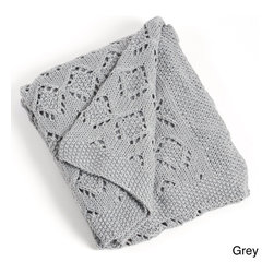 None - Knitted Design Throw Blanket - Keep yourself warm and enhance your home decor with the lovely knitted design throw blanket. Machine washable for easy care and repeated use,this 60 inches long x 50 inches wide cozy throw is available in a grey or vanilla finish.