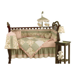 Sweet Jojo Designs - Annabel 9-Piece Crib Bedding Set by Sweet Jojo Designs - Give your nursery a little old-fashioned charm with this sweet crib bedding set. It has everything you need to outfit the nursery, from bedding to toy bag and diaper stacker to window valance.