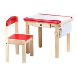 Guidecraft Art Table and Chair Set - Give your child their very own spot for drawing pictures and much more. The Guidecraft Art Table and Chair Set is made of sturdy hardwood that has a smooth, fine grain that makes it exceptionally durable and easy to clean. This set features a paper roll caddy and a child-friendly paper cutter. The Art Table and Chair Set comes in red and pink colors and is perfect for coloring, painting or drawing. Some assembly required. Includes a paper roll.About GuidecraftGuidecraft was founded in 1964 in a small woodshop, producing 10 items. Today, Guidecraft's line includes over 160 educational toys and furnishings. The company's size has changed, but their mission remains the same; stay true to the tradition of smart, beautifully crafted wood products, which allow children's minds and imaginations room to truly wonder and grow.Guidecraft plans to continue far into the future what they do best, while always giving our loyal customers what they have come to expect: expert quality, excellent service, and an ever-growing collection of creativity-inspiring products for children.